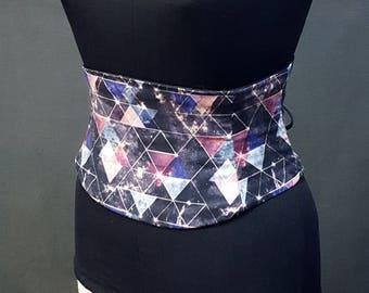 Galaxy Geometric Cotton Corset Waist Cincher Obi Belt