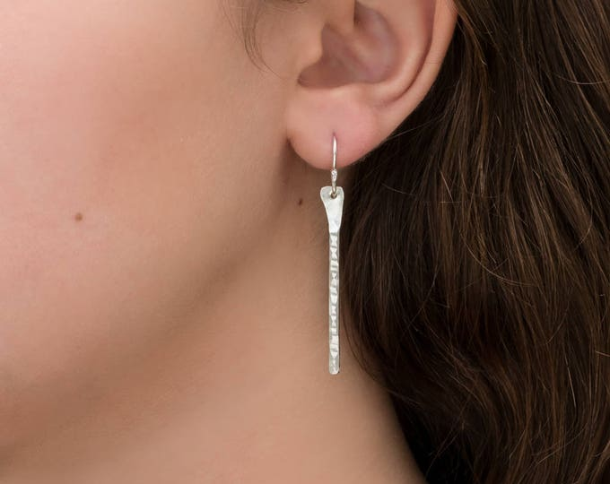 Hammered sterling silver, dangle bar earrings, shiny.