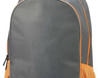 Champion Backpack-Orange and Grey Backpack-includes Monogram-School Bag-Diaper Bag