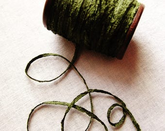 Pine green rayon Chenille Ribbon on a Hand painted espresso wooden spool