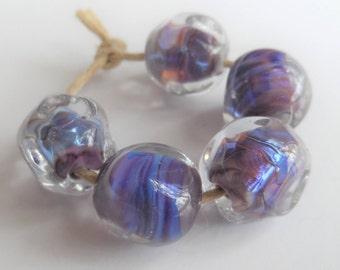 Handmade Lampwork Beads, Handmade Glass Beads, Purple Nugget, 12mm