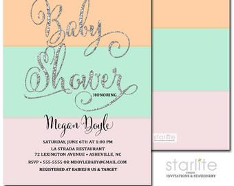 Pink Peach Mint Baby Shower Invitation | Pink Mint Peach Silver Glitter Invite | Girl Baby Shower Invitation | Printable Digital or Printed