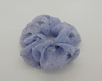 Hair Scrunchie. Blue floral chiffon hair scrunchie.