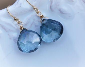 Aquamarine Stone earrings, Gem Earrings - Blue earrings - gold earrings - March Birthstone - clip on option, sky blue jewelry, gift