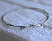 Sterling silver twig bangle bracelet -Woodland Bracelet -Oxidized Branch Bracelet with 18K solid gold dots-Twig jewelry-Gift for girlfriend