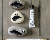 Foxes - Painted Stones - Illustrated Beach Pebble, Animal Rock Art - Available Individually - by Natasha Newton