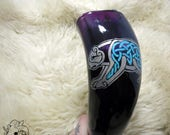 5.5 oz Purple Knotwork Bear Drinking Horn with Leather Holster
