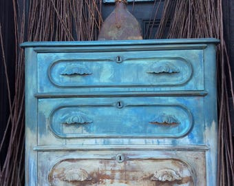 HOLD Painted Bohemian Vintage Dresser With Mirror - Painted Dresser - Shabby Chic Dresser - Vintage Dresser - Rustic Farmhouse Table
