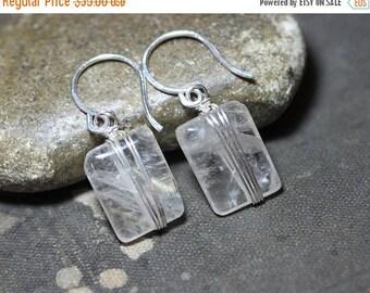 SALE Rutilated Quartz Earrings Sterling Silver Wire Wrapped Earrings Gemstone Earrings