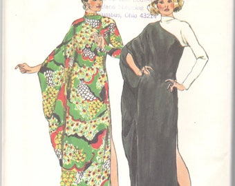 Simplicity 5971 1970s  Misses Dramatic Asymmetrical CAFTAN Pattern Contrast Sleeve Womens Vintage Sewing Pattern Size Medium Bust 34 - 36 UC