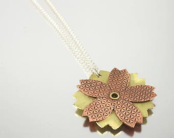 Mixed Metal Copper and Brass Flower Pendant