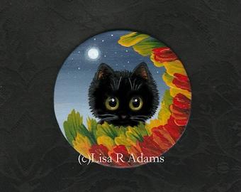 Black Cat Painting on Wood Magnet Fall Leaves Original Art Creationarts