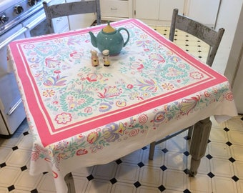 Vintage Tablecloth Colorful Stylized Garden Tulips & Hearts