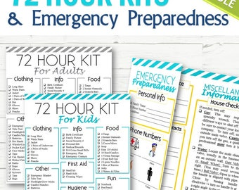 EDITABLE 72 Hour Kits and Family Emergency Plan - INSTANT DOWNLOAD