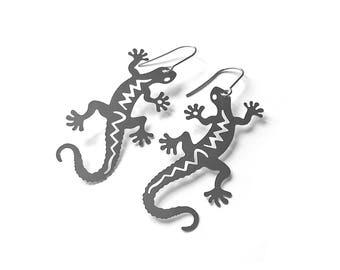 Silver Gecko dangle earrings - Nickel free stainless steel