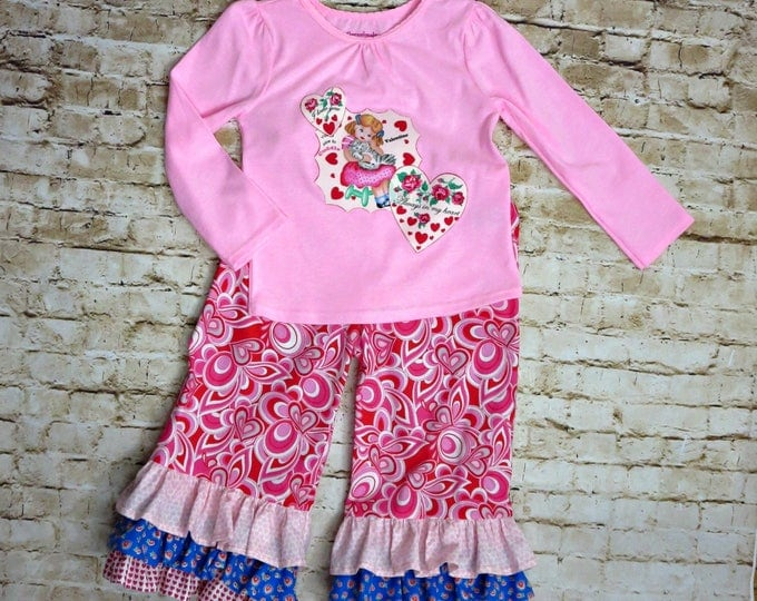 Valentine's Day Outfit - Little Girls Outfit - Ruffle Pants - READY TO SHIP - 2t only