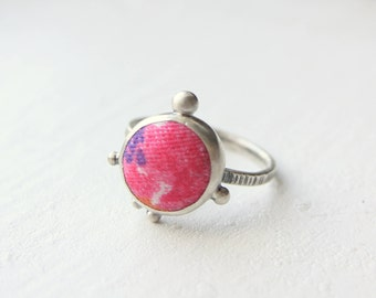 Sherbet Ring - sterling & button