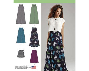 Misses' Wide-Leg Pants or Shorts & Skirts in 2 Lengths, Sewing Pattern - Sizes: 4 -12 or 12 -20, Simplicity 1069 Sewing Pattern, UNCUT