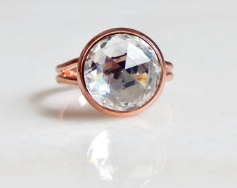Clear crystal ring on rose gold - rose gold ring - rose gold jewelry -pink gold - clear crystal ring - Swarovski