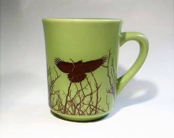 Ceramic Crow Mug Green and Sepia Coffee Cup 8 Oz  Same Day Shipping
