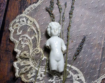 Antique German Large FROZEN CHARLOTTE DOLL- Porcelain Doll- Mixed Media- Found Object