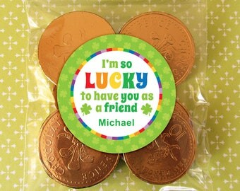 Personalized St. Patrick's Day Gift Tags or Stickers – 2, 2.5 or 3 Inch Circle – DIY Printable – Lucky Shamrock  (Digital File)