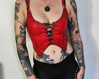 Hell Couture Red Wolf Bait Lace Up Studded Tank Top