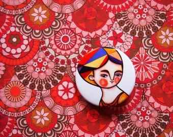 Autumn pin, orange & white button brooch