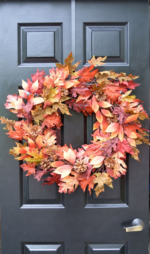 Burgundy Leaf FALL Wreath, Fall Decor Outdoor Wreath, Fall Monogram Wreath with Pinecones, Autumn Fall Decor, Fall Colors, Gold Monogram