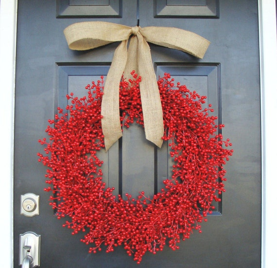 Weatherproof Berry 24 inch Red Christmas Wreath-  Holiday Wreath- WEATHERPROOF, Designer Ribbon 16-24 inch sizes available