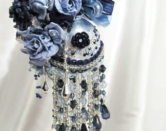 Navy Baby Blues and Silver Beaded Victorian Ornament with 115 Swarovski Crystals