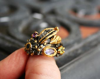 14 K gold over  925 Sterling Silver with  Amethyst,Perdiot and Sapphire stones ,Rhodolite Ring ,one of the kind ,Elegant