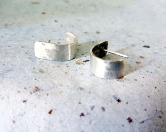 Organic sterling silver post earrings, curved rectangular post earrings, sterling silver earrings