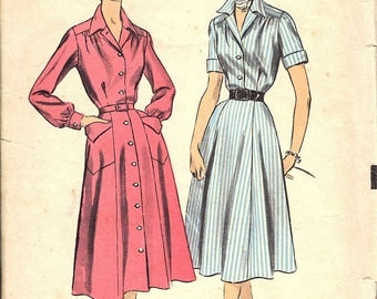 Vintage 1950s Shirtwaist Dress Sewing Pattern, Advance 6357, bust 34