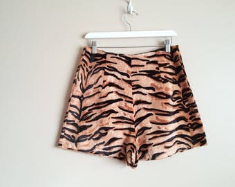 Vintage Repro High Waisted Shorts with Darts. Size M-L. Tiger Stripe Animal Print Velvet Fabric. Poison Ivy. Cute! Summer Festival Wear.