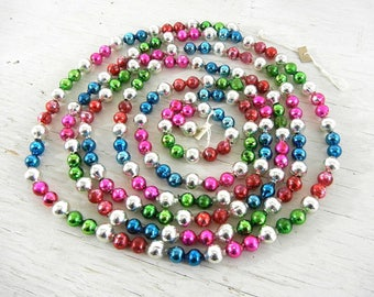 Vintage Christmas Multi-Color Glass Garland | Red Green Pink Blue Silver Beads | Vintage Christmas Tree Decoration