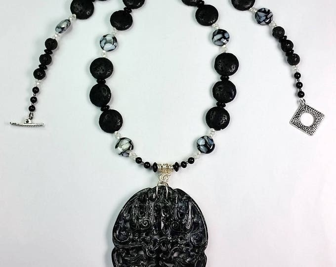 Blackish Carved Serpentine Pendant Set - Asian Influence Jewelry - Black and White Jewelry - Serpentine Pendant - Long Necklace