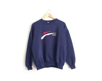 Size L // AIR SPORTS SWEATSHIRT // Navy Blue - Embossed Embroidery - Nike Knockoff - Vintage '80s/'90s.