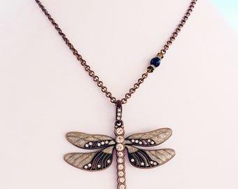 Green Dragonfly Necklace - Large - Art Nouveau Necklace - Long Pendant Necklace - DREAMWEAVER