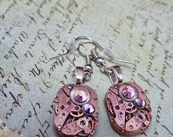 Steampunk ear gear - watch movement - Rose Gold - Steampunk Earrings - Repurposed art