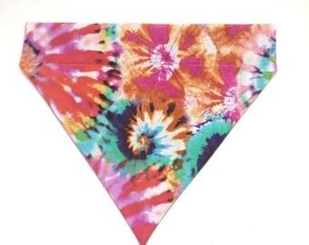 Pet Accessory  - Colorful Tie-Dye - Over the Collar -Custom - Bandana, Bow Tie, Neck Tie, Flower