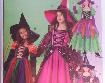 Gauntlet Witch Hat Dirndl Skirt Childrens Witch Costume Girls Witch Costumes Pattern Size 7-12  M4947 Mccalls Costumes Pattern