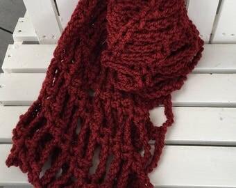 Red Handmade Crochet Infinity Scarf