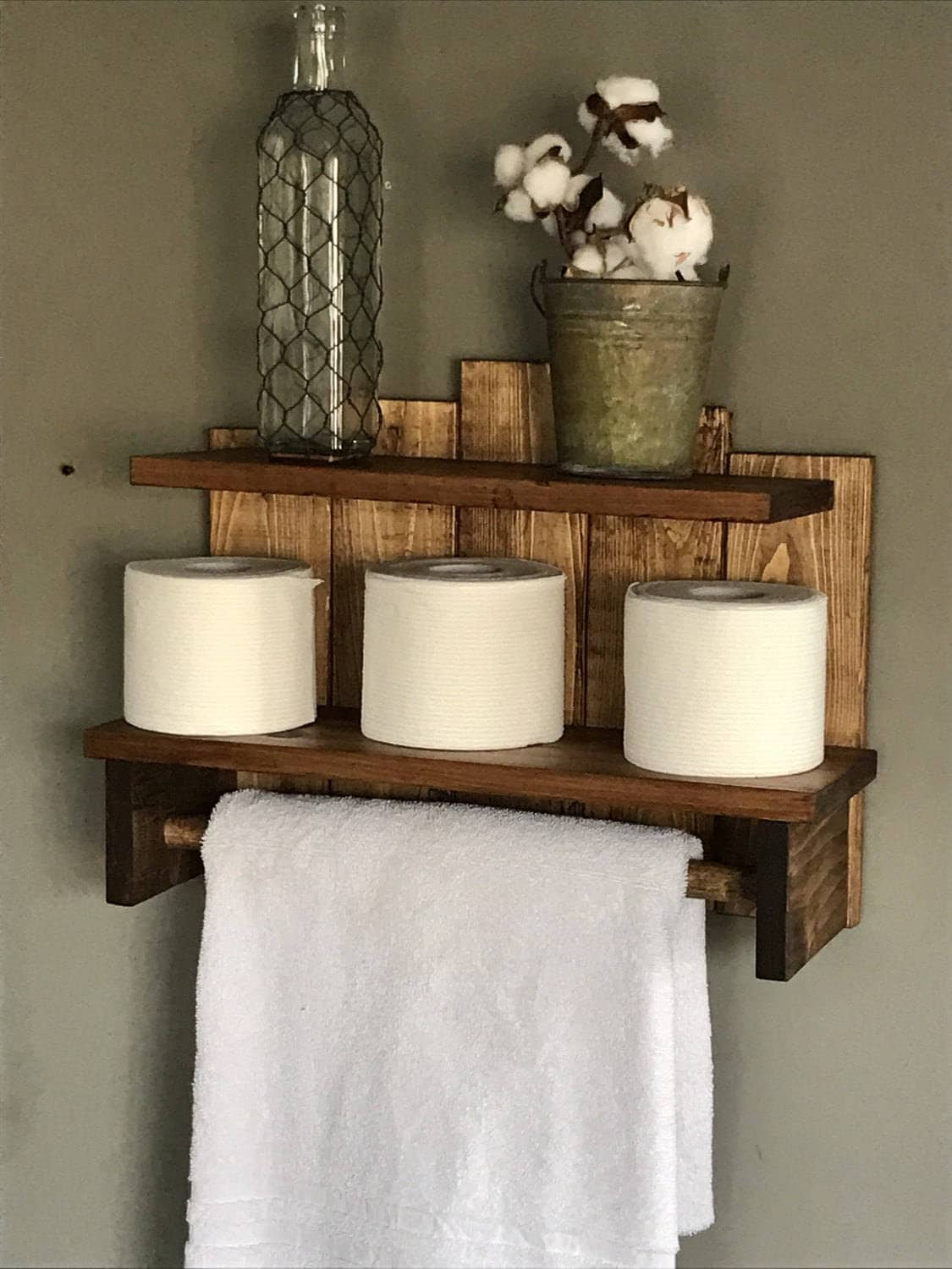 Bathroom Storage Rustic Towel Holder For Bath Toilet Paper Shelf