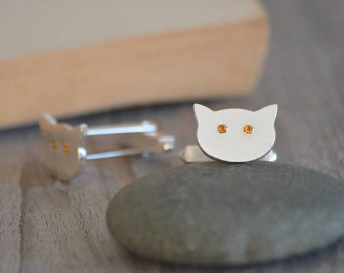 Cat Cufflinks In Solid Sterling Silver, With Gemstone Eyes, Made To Order