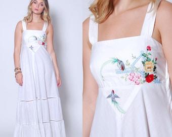 Vintage 70s EMBROIDERED Maxi Dress YOUNG EDWARDIAN Dress White Sundress Boho Wedding Dress