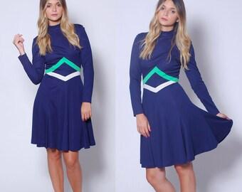 Vintage 70s Blue COLOR BLOCK Dress Mini Dress 70s Graphic Dress