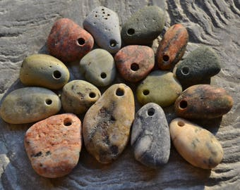 Natural Beach Stone Pendants - Mixed Sizes and Colors - Drilled Beach Stones from Lake Erie, Bulk Jewelry Necklace Supply