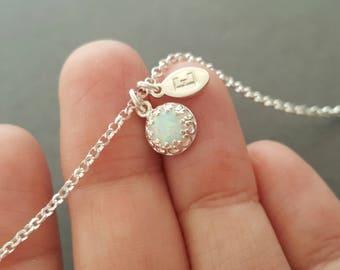 tiny Opal Bracelet Initial Bracelet white man made opal mothers bracelet new mum personalised gift for mum family bracelet