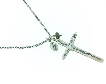 sterling silver cross necklace . tourmaline and cross charm necklace by peacesofindigo